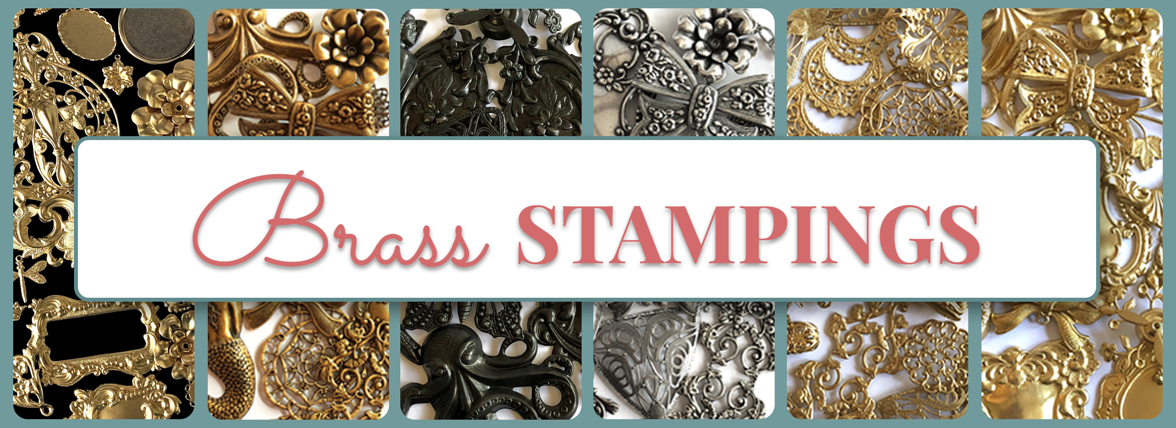 Vintage Brass Carved Stamping Findings Jewelry Supplies 18V10 1 piece