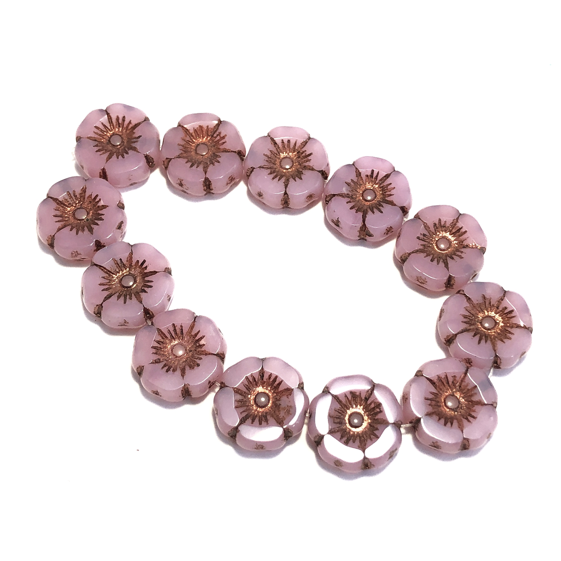 Dusty Rose With Copper Wash Hibiscus Flowers Glass Beads Floral