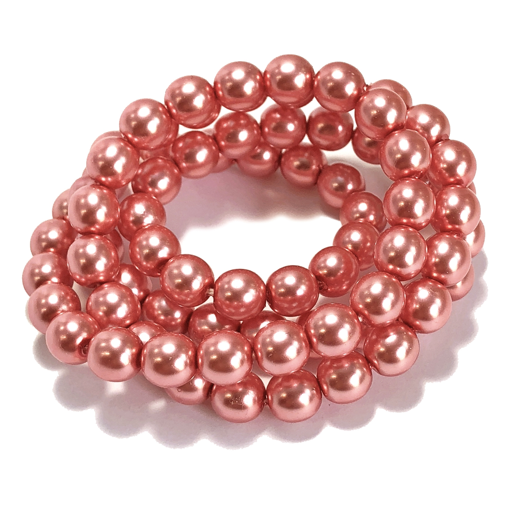 Pink Glass Pearl 10mm 24 inch Vintage Necklace NEW OLD STOCK