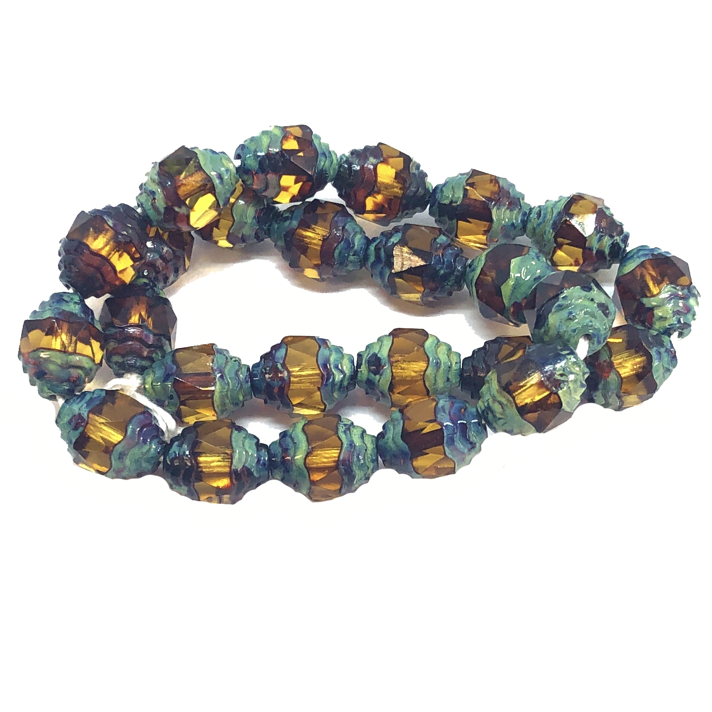 Cathedral Beads, Oval Fancy Glass Beads, Faceted, Topaz Antique, 8x10mm