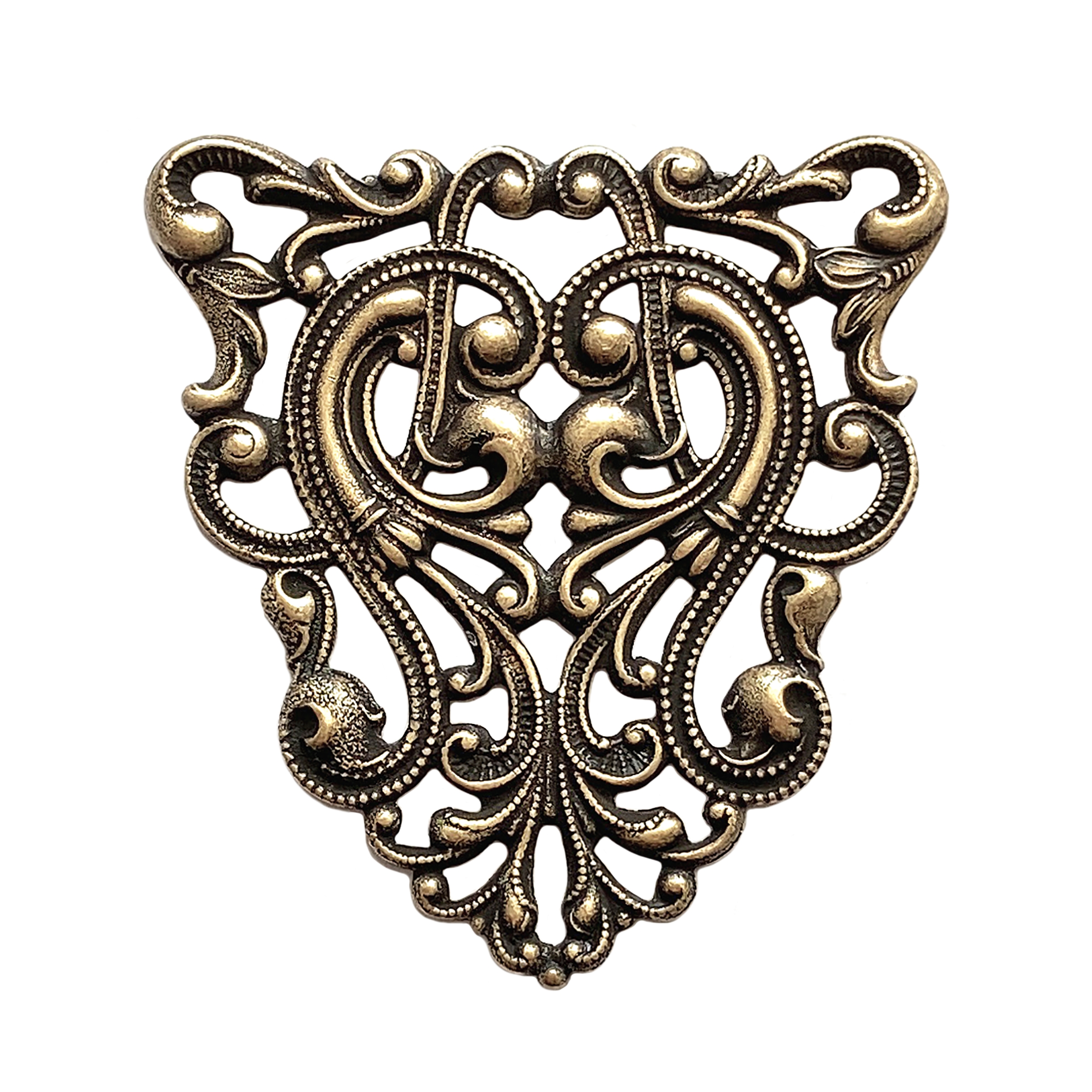 4 pieces Made in the USA Antiqued Brass Vintage Design Art Nouveau Filigree Cross Drop