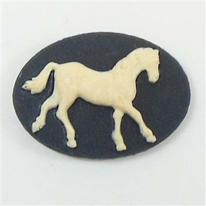 Cameo trotting horse cameo imported resin creme over for Negative show pool horse racing