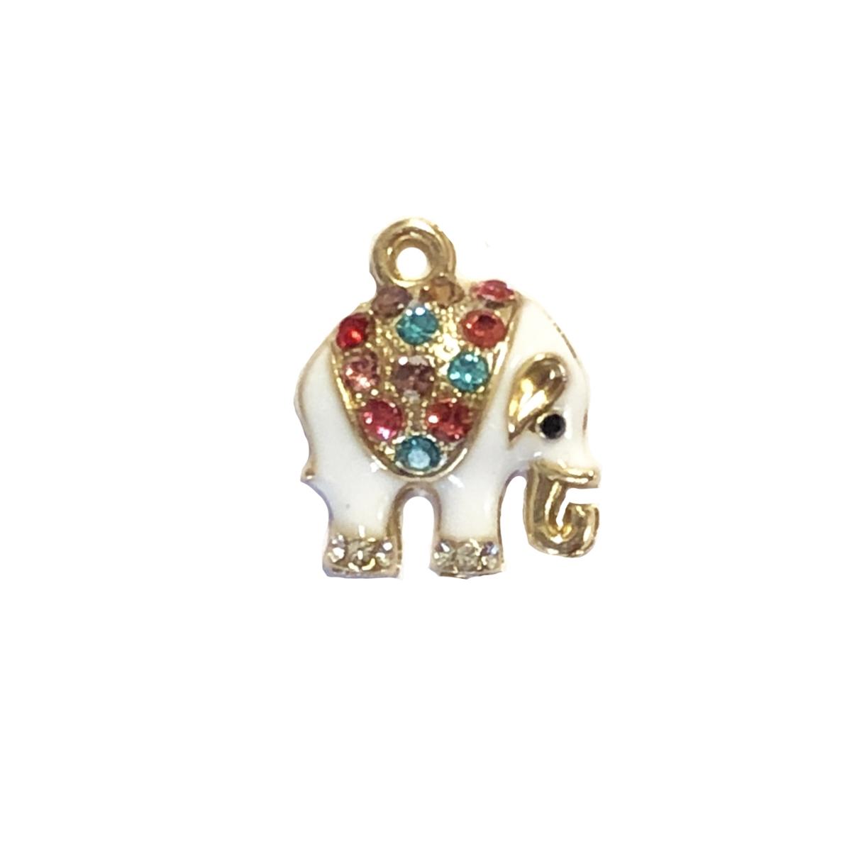 Elephant Gold Plated Large Hole Rhinestone Charm For European Charm Bracelets