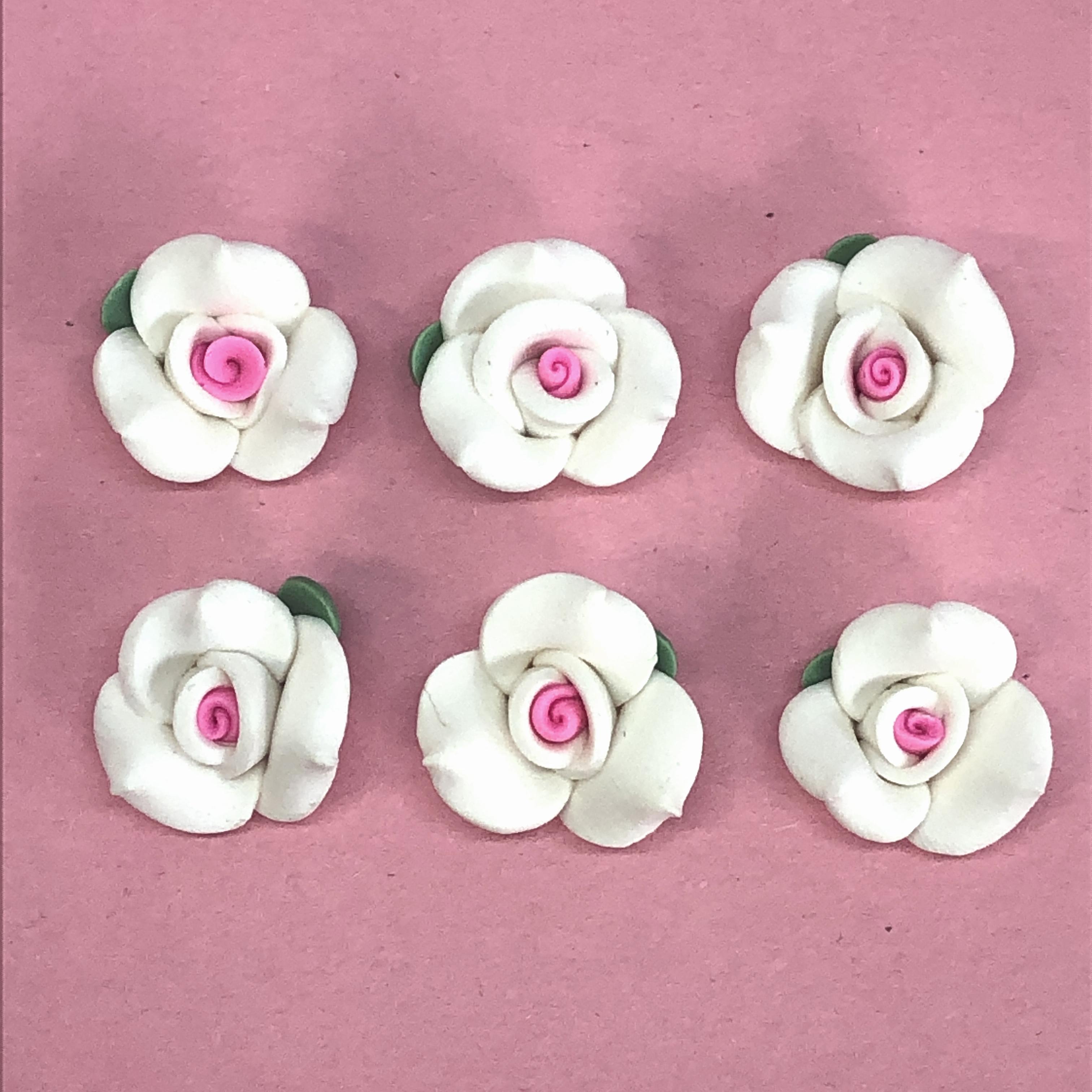 8mm White Ceramic Rose Cabochons Flowers Flat Backs Cameos w Green Leaf Qty 6