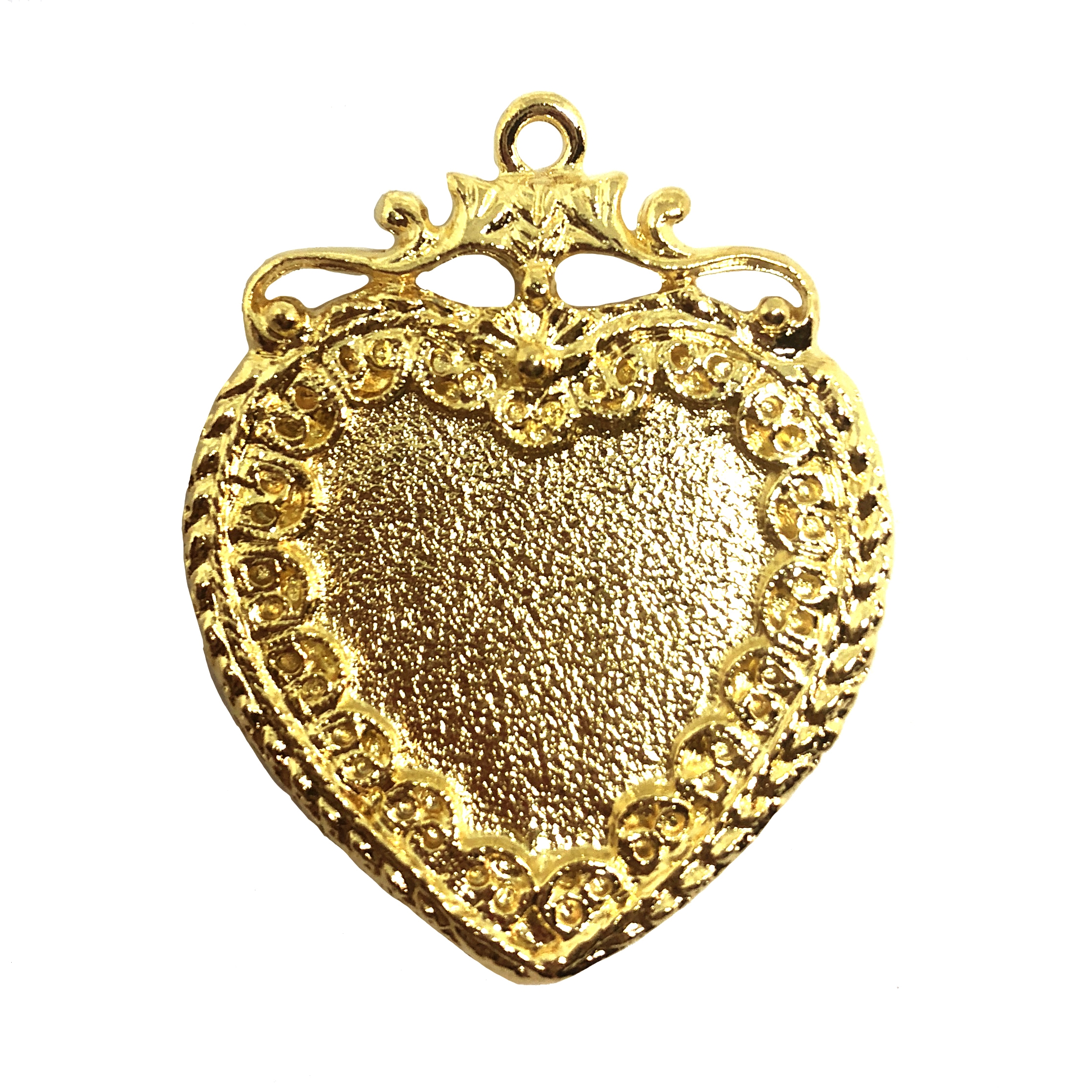 Vintage Style Heart Pendant 22k Gold Finish Pewter B Sue By 1928