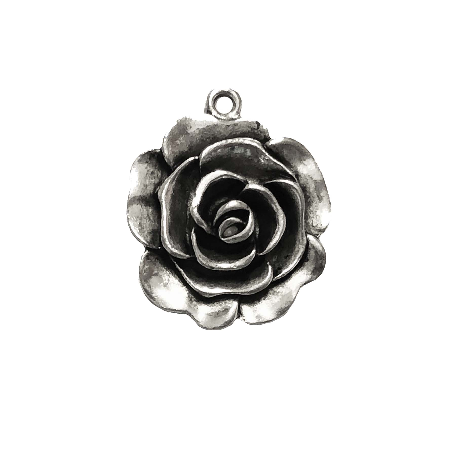 Old Silver Nickel Free Rose Rose Charms Lead Free