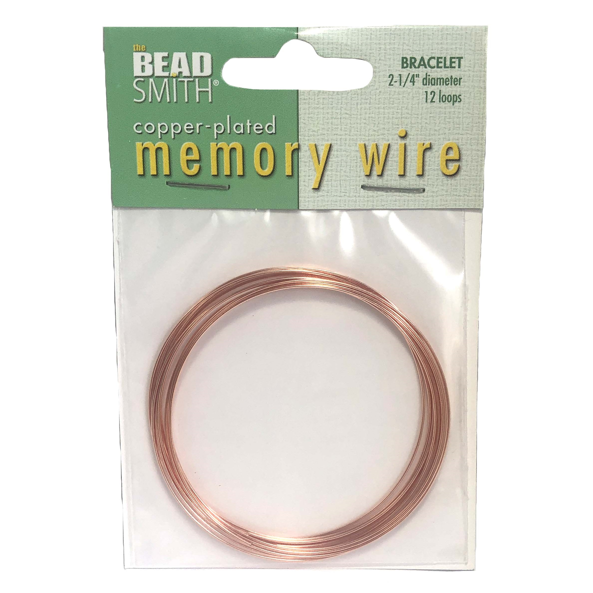 """12 Loops Copper Plated Stainless Steel Memory Wire 2 1//4/"""" Round Bracelets"""